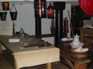 A reconstruction of a surgeon's table in the orlop