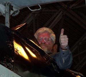 John Evans in the cockpit of a Swordfish, Royal Navy Historic Flight Centre