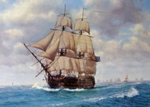 <em>Victory</em> in pursuit of Nelson<br>by John Chancellor