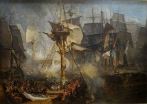 The Battle of Trafalgar  as seen from the mizzen starboard shrouds of Victory  JMW Turner