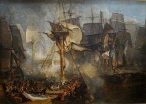 The Battle of Trafalgar  as seen from the mizzen starboard shrouds of Victory  JMW Turner