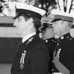 David Stelmach, at Commando Training Centre Royal Marines receiving LS and GC medals