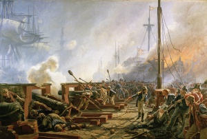 The young Sub-lieutenant Peter Willemoes putting heart into his men at the Battle of Copenhagen, Christian Mølsted