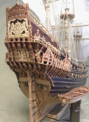 Stern view of Clayton's model of <em>Vasa</em>