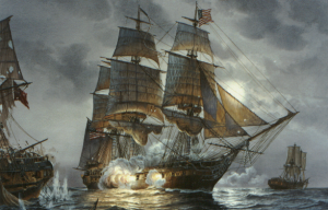 Constitution vs. Cyane and Levant by American Tom W.  Freeman. Levant's stern is to the left and a wrecked Cyane to the right
