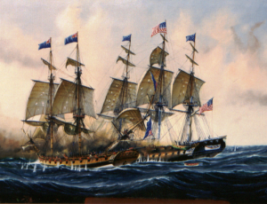 Guerriere's first collision with Constitution, painting by Briton Ken Grant
