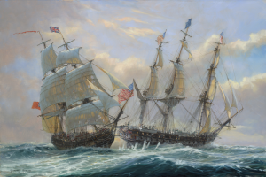 Java rakes Constitution, painting by Briton Geoff Huband.  He has heightened the drama by clouding the sky and roughing the waters (the actual day was sunny, the sea oily calm)