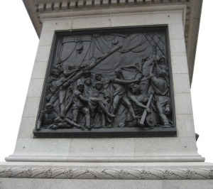 Nelson's mortal wounding, one of the four bronze panels on the pedestal of Nelson's Column in Trafalgar Square
