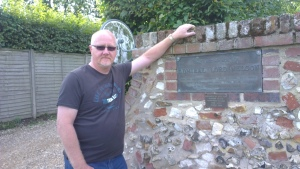 Chris Revell outside Nelson's home, Burnham Thorpe