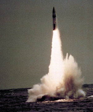 A Polaris missile is launched from the nuclear-powered ballistic missile submarine HMS <em>Renown</em><br><em>Photo: US DoD>/em>