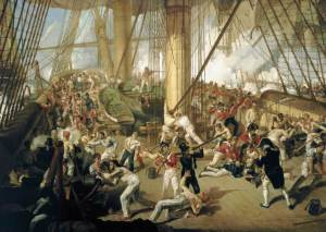 In this painting of the Battle of Trafalgar various types of naval headgear can be seen