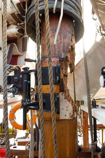 The damaged mizzen mast that needs urgent replacement