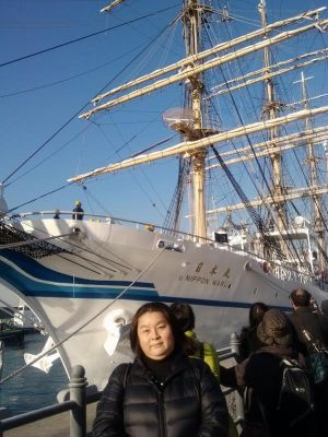 Akiko Umechi visiting the Japanese sail training ship Nippon-Maru