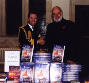 With Commodore Johnstone-Burt at the launch of MUTINY at Britannia Royal Naval College, Dartmouth