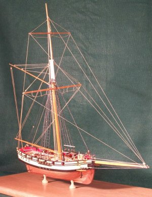 A model by Bob Squarebriggs of the little topsail cutter Seaflower