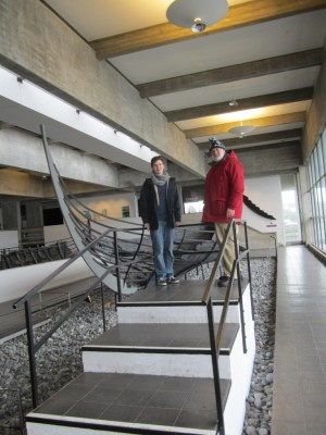 Marcus proudly showing me around the world-class Viking Museum, Roskilde