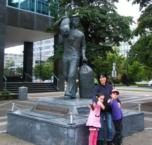 Rod's family at the Sailors' Monument, Maritime Museum of the Atlantic, Halifax