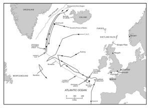 Battle map showing the scope of the Bismarck action from 23 May 1941, when Bismarck and Prinz Eugen were shadowed by British cruisers, through the Battle of the Denmark Strait, on 24 May, to the final clash on 27 May. Copyright © Dennis Andrews.