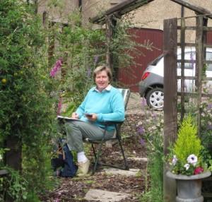 Sybil Galbraith painting outdoors