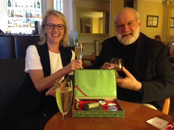 Toasting the upcoming launch in November of THE SILK TREE with Allison & Busby's Publishing Director Susie Dunlop