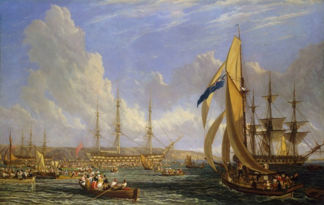 In 1816 British artist John James Chalon recreated the scene when Napoleon came to Plymouth
