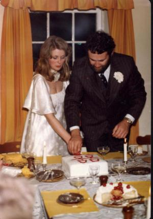 Cutting our wedding cake