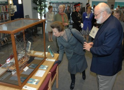 HRH Princess Anne admires a model of Teazer