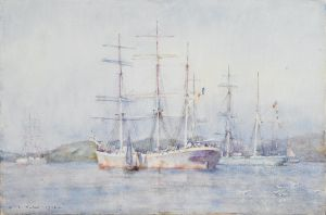 The American artist Henry Scott Tuke lived in Falmouth in the early twentieth century and painted this charming watercolour of two French barques in Carrick Roads