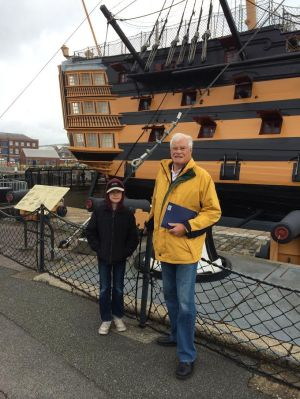 Taking in HMS Victory with his grandson