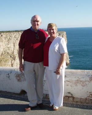 Lin-Marie and her husband at the famous Cape St Vincent, Portugal, site of one of Nelson's most famous battles