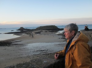 Kathy on the ramparts, St Malo