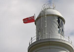 Trinity House flag flying on Portland Bill lighthouse