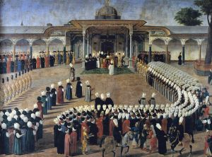 Sultan Selim III (who features in Pasha) holding an audience in the Second Courtyard
