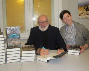 Signing stock at Goldsboro, with bookseller Sam Bradbury
